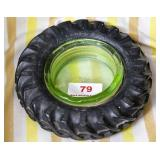 Goodyear tire w/ green glass ashtray