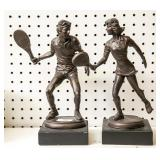 2 composition tennis player figurines