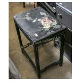 Painted side table w/ carved florals