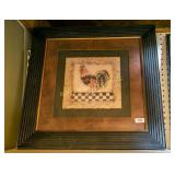 Framed, matted rooster print
