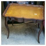 Wooden side table w/ leather inset