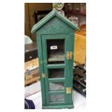 "Painted wood 26"" tall narrow cabinet"