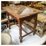 Carved wooden table w/ glass tray top