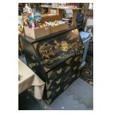 Drop front writing desk with black finish