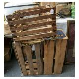 3 vintage wooden crates, 2 are fruit crates