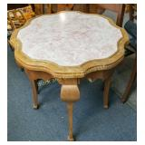 Scalloped top lamp table, marble inset