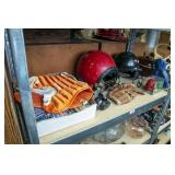 Shelf of sporting items