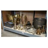 Shelf of brass and other metalwares