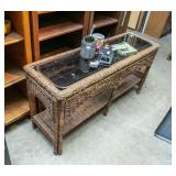 Wicker sofa table with glass top
