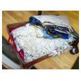 Box of vintage linens, scarves, seed sack