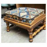 Wood frame ottoman w/ upholstered top