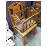 Oak side chair and magazine rack