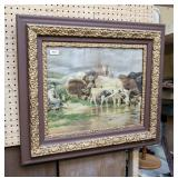 Wood and gilt framed cattle print