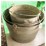 3 galvanized buckets or pails