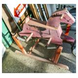 Vintage wooden rocking horse, as found
