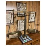 Antique Brass Scale with Marble Base