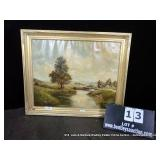 GOLD FRAMED OIL ON CANVAS PAINTING - OLD FARM