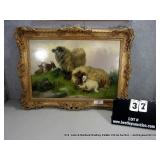 FRAMED ACRYLIC PAINTING - OLD RAMS, WILLIAM G.