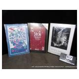 LOT: 3 METAL FRAMED DECORATIVE POSTERS & POSTER