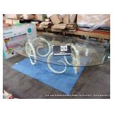 LARGE GLASS TOP DECORATIVE DINING TABLE W/ LARGE