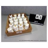 BOX: ASSORTED WHITE HOBNAIL GLASS CANDLE HOLDERS