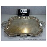 LARGE SILVER PLATE FLORAL PATTERN SILVER SERVING