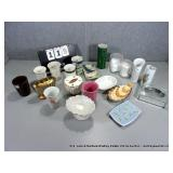 BOX: ASSORTED BATHROOM PORCELAIN CONTAINERS &