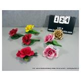 LOT: 6 FINE PORCELAIN PAINTED ROSE FIGURINES & 1