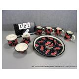LOT: 8 HAND PAINTED CHILI PEPPER DISH SET - 4