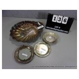 LOT: (4) MIXED SILVER PLATE SERVING DISHES AND