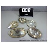 LOT: (5) SMALL ASSORTED SILVER PLATES/CANDY