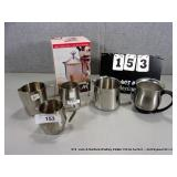 LOT: (6) SILVER METAL/STAINLESS COFFEE/CREAMER
