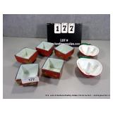 LOT: (5) ORIENTAL STYLE SQUARE DISHES & (2) CAST