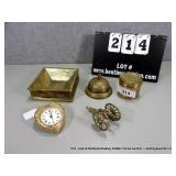 LOT: 5 DECORATIVE BRASS PIECES - SMALL BELL,