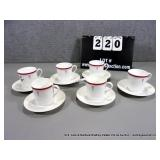 LOT: 6 RED PAINTED LENOX CHINA CUP & SAUCER SETS