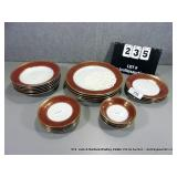 LOT: 23 PIECES PASCO BAVARIA CHINA - RED & GOLD