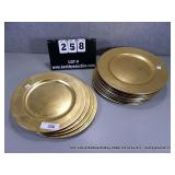 LOT: 14  GOLD FINISH POLY DECORATIVE PLATES