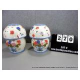 LOT: 2 FLORAL PAINTED CERAMIC GLOBED CANDLE LAMPS