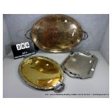 LOT: 3 STAINLESS STEEL, BRASS & SILVER PLATE
