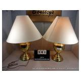POLISHED BRASS URN TYPE TABLE LAMPS (2X MONEY)