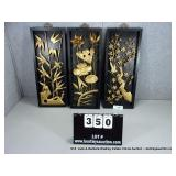 LOT: 3 WOOD FRAMED PUNCHED TIN ORIENTAL