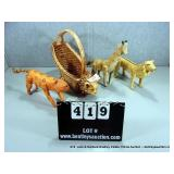 LOT: 4 ANIMAL CHARACTERS - CAT BASKET, 3 JUNGLE