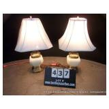 BEIGE CERAMIC & BRASS TABLE LAMPS (2X MONEY)