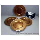 LOT: 4 AMBER/ GOLD LARGE GLASS DECORATIVE DINNER