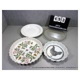 LOT: 4 GLASS & CERAMIC ASSORTED PIE PAN/ BAKING