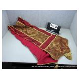 MAROON & GOLD UPHOLSTERY, GOLD TASSLED TABLE