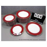 LOT: 23 PIECES LINEN & THINGS RED RIMMED CHINA