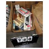 LOT: 33 VARIOUS SIZE PAINT BRUSHES, 10 SAND PAPER