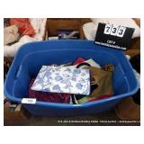 BLUE TUB: VARIOUS WOVEN BAGS, FAUX LEATHER HAND