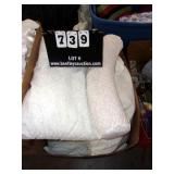 BOX: CLOTH WHITE PILLOWS, TWO BEAD FILLED, REST